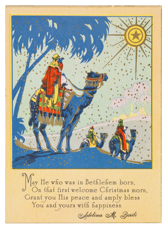 flat card 5 38 x 3 78 inches black engraving and color lithography with gold on cardstock gold border ca 1930 made in usa - Photo Xmas Cards