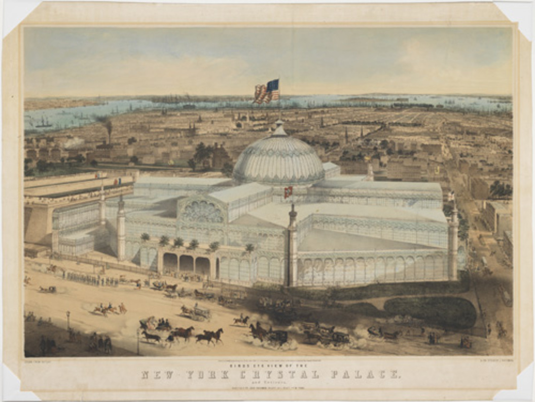 John Bachman, Birds Eye View of the New York Crystal Palace and Environs,  1853. Hand-colored lithograph. The Museum of the City of New York,  29.100.2387.